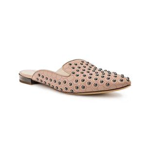 Kenzie ll nude nappa leather flat slide with custom studs applied to upper and almond toe shape