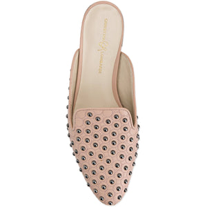 Top view of Kenzie ll nude nappa leather flat slide with custom studs applied to upper and nude sole