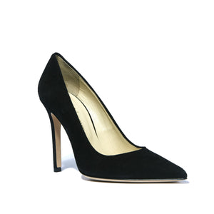 Kersen black suede high heel with pointed toe shape and nude sole