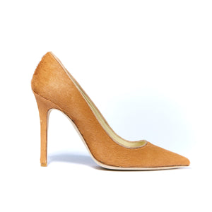 Profile of Kersen camel pony hair high heel with pointed toe
