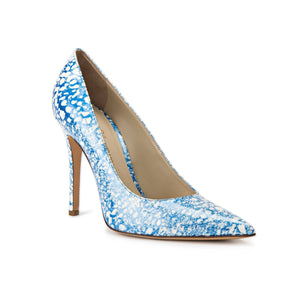 Kersen blue/white eponge patent leather high heel with pointed toe shape
