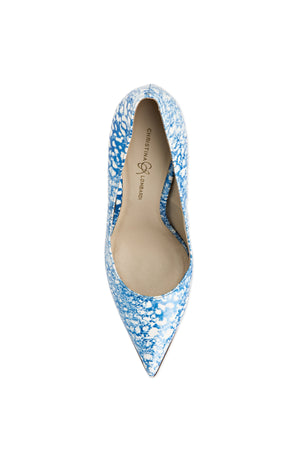 Top view of Kersen blue/white eponge patent leather heel with pointed toe and nude sole