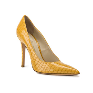 Kersen yellow crocco patent leather high heel with pointed toe shape