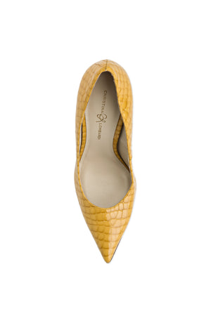 Top view of Kersen yellow crocco patent leather heel with pointed toe and nude sole