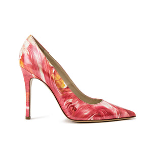 Profile of Kersen dante pink floral patent leather high heel with pointed toe