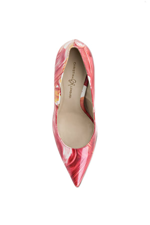 Top view of Kersen dante pink floral patent leather heel with pointed toe and nude sole