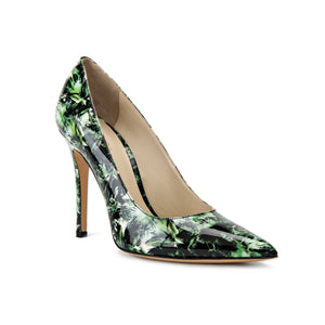 Kersen green leaf patent leather high heel with pointed toe shape