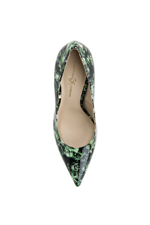 Top view of Kersen green leaf patent leather heel with pointed toe and nude sole