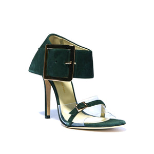 Open toe Neeka green suede heel with floating strap along toes with large buckle enclosed ankle wrap