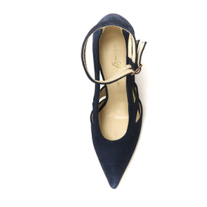 Top view of Nicole navy suede cut out heel with two ankle straps, pointed toe, and nude sole