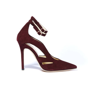 Profile of Nicole bacco suede heel with cut outs along the side of the foot and two ankle straps