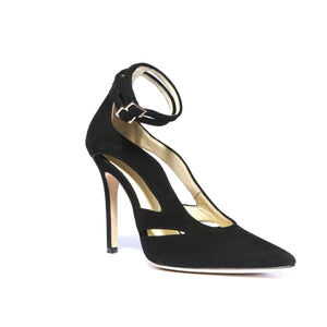 Nicole black suede heel with cut outs along the side of the foot and ankle straps with a pointed toe