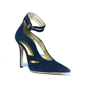 Nicole navy suede heel with cut outs along the side of the foot and ankle straps with a pointed toe