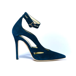 Profile of Nicole navy suede heel with cut outs along the side of the foot and two ankle straps