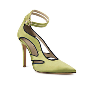 Nicole lime satin heel with cut outs along the side of the foot and ankle straps with a pointed toe