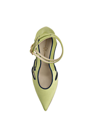 Top view of Nicole lime satin cut out heel with two ankle straps, pointed toe, and nude sole