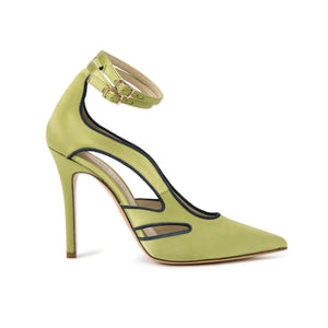Profile of Nicole lime satin heel with cut outs along the side of the foot and two ankle straps