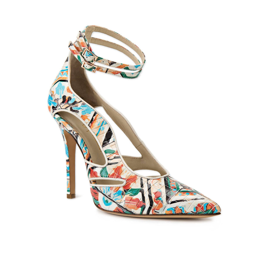 Profile of Nicole maiolica tile leather heel with cut outs along the side and two ankle straps