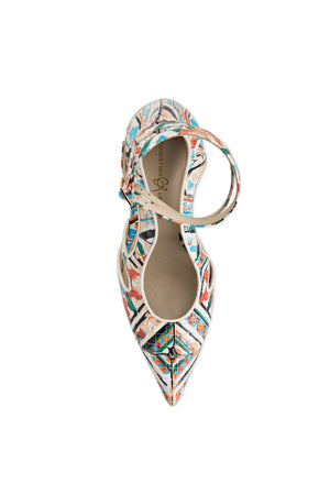 Top view of Nicole maiolica tile leather heel with two ankle straps, pointed toe, and nude sole