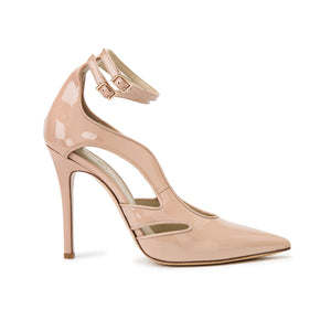 Profile of Nicole nude patent heel with cut outs along the side of the foot and two ankle straps
