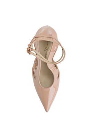 Top view of Nicole nude patent cut out heel with two ankle straps, a pointed toe, and nude sole