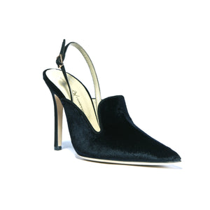 Norah black velvet sling back heel with buckle clasp sling back and pointed toe