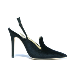 Profile of Norah black velvet sling back heel with black wrapped heel and strap