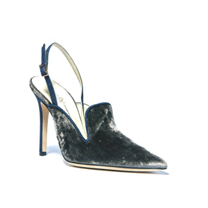 Norah grey crushed velvet sling back heel with navy suede lining and sling back with pointed toe