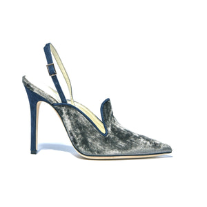 Profile of Norah grey crushed velvet sling back heel with navy suede wrapped heel, lining and strap