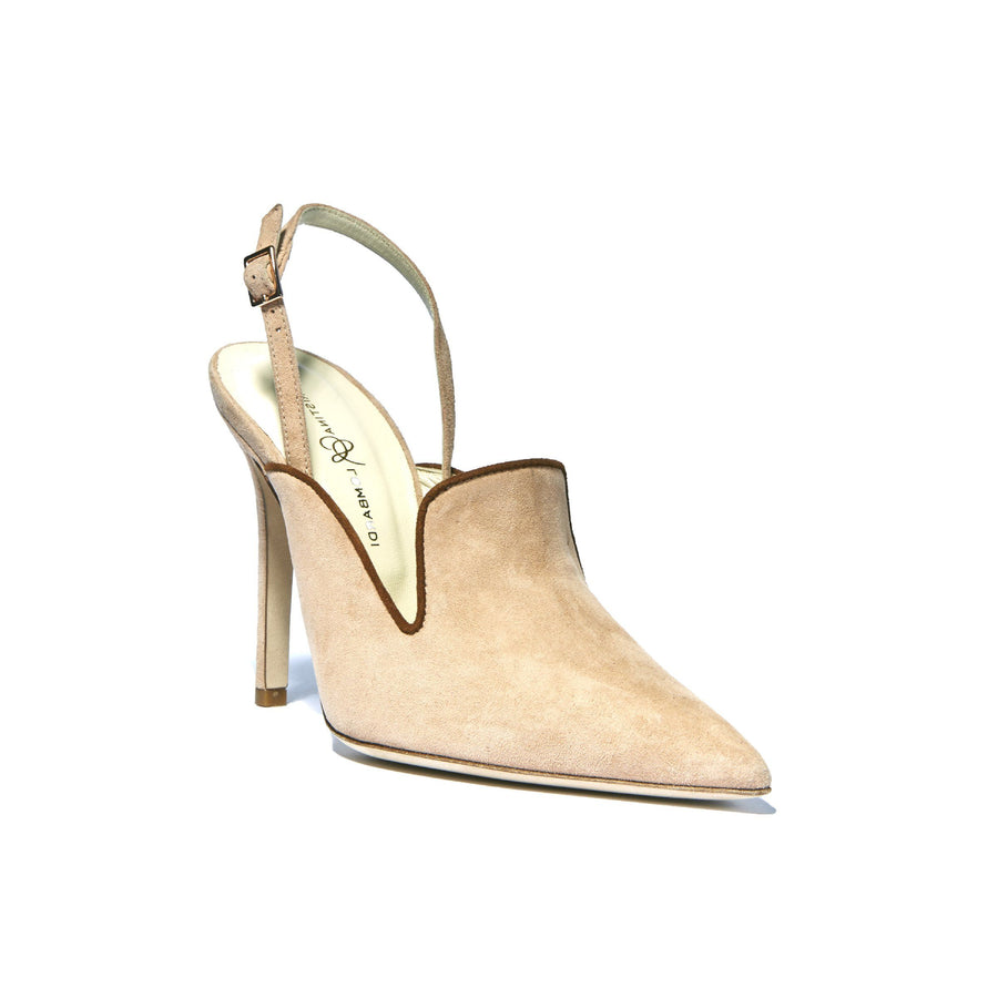 Profile of Norah sunkissed suede sling back heel with brown leather lining and pointed toe