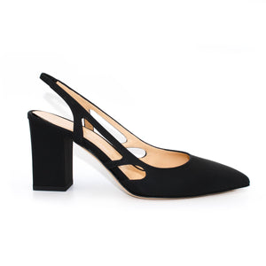 Profile view of Ravello block heel slingback in black Italian leather