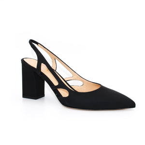 Three quarter view of Ravello block heel slingback in black Italian leather