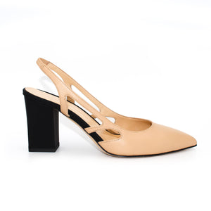 Profile view of Ravello block heel slingback in nude Italian leather with black heel