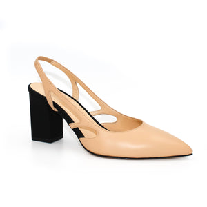 Three quarter view of Ravello block heel slingback in nude Italian leather with black heel