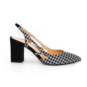 Profile view of Ravello block heel slingback in black and white tweed fabric with black heel