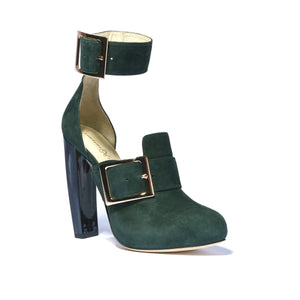Ronnie timo suede boot with a horn heel and platform accented with large buckles on ankle and foot