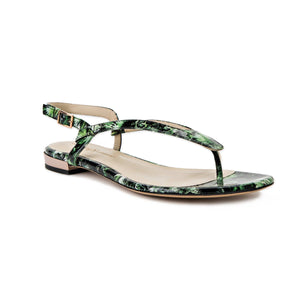 Sofia green leaf patent leather flat sandal with thong ankle strap