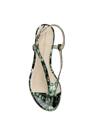 Top view Sofia dante floral patent leather flat sandal with thong ankle strap and nude sole