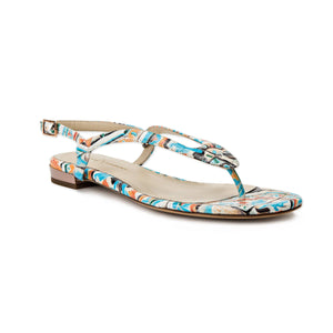 Sofia maiolica tile leather flat sandal with thong ankle strap