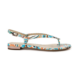Profile of Sofia maiolica tile leather flat sandal with buckle enclosure ankle strap