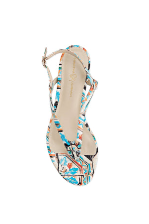 Top view Sofia maiolica tile leather flat sandal with thong ankle strap and nude sole