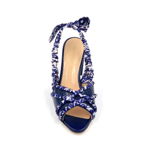 Front view of navy Valentina block heel sling back sandal with navy paisley silk wrapped accents