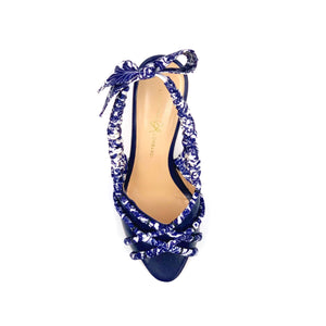 Top view of navy Valentina block heel sling back sandal with navy paisley silk wrapped accents