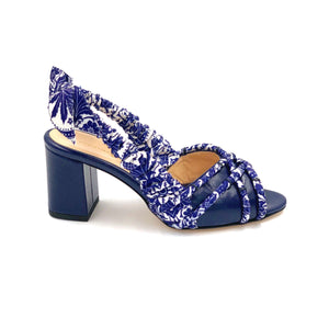 Profile of navy Valentina block heel sling back sandal with navy paisley silk wrapped accents