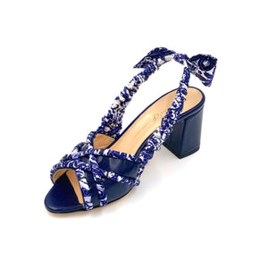 Navy Valentina block heel sling back sandal with navy paisley silk wrapped accents