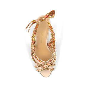 Top view of nude Valentina block heel sandal with patterned silk accents and slingback with back bow