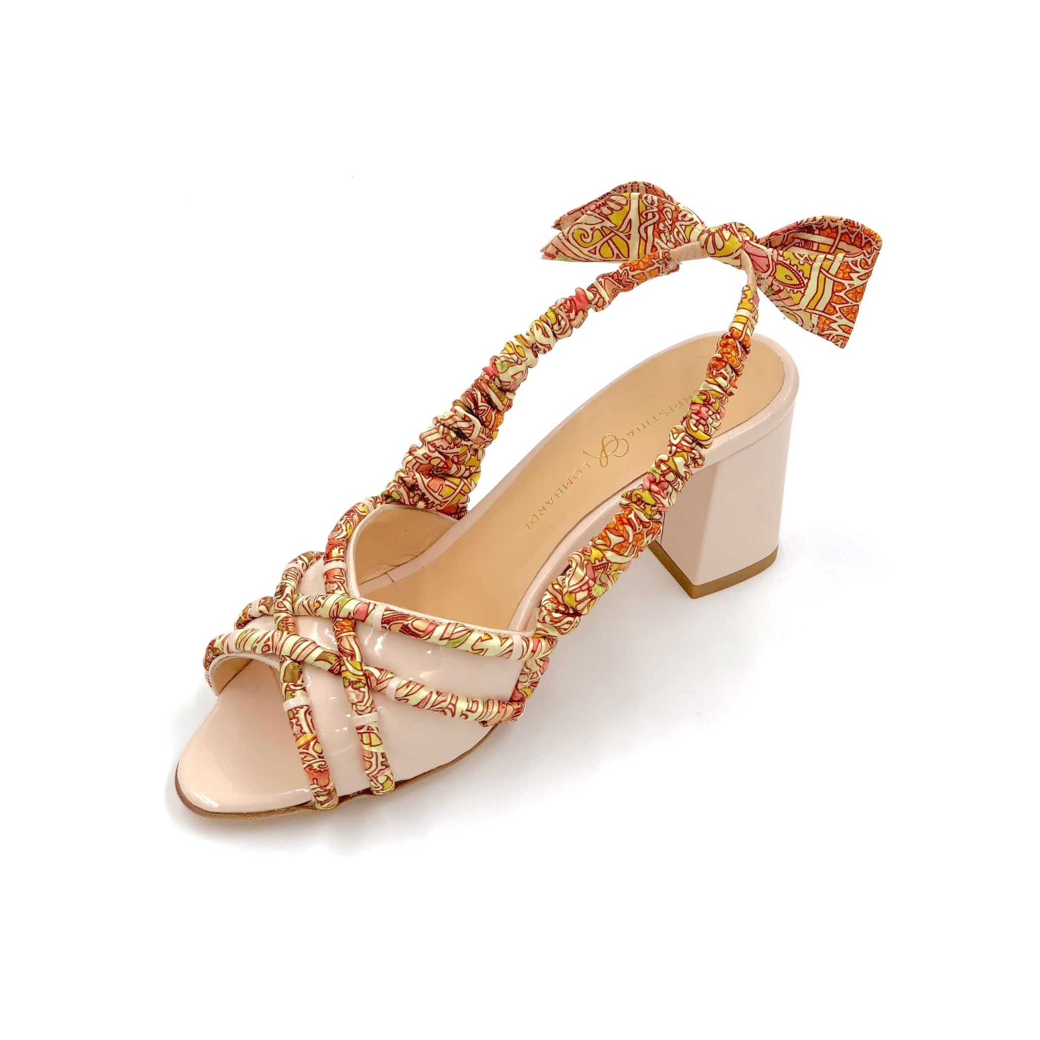 84a06e644 Nude Valentina block heel sling back sandal with pink & orange patterned  silk accents