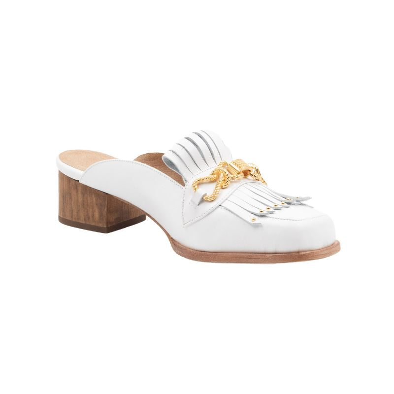 Profile of Aspen white leather loafer with a short brown, chunky, wooden heel