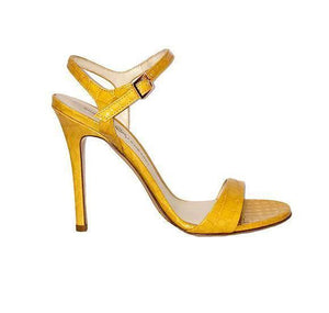 Profile of Heidi yellow crocco patent leather open toe heel with strap across toes and around ankle