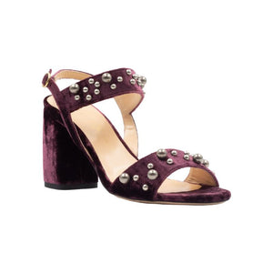 Front angle of Emilia bacco velvet, chunky heel sandal. Two straps across the foot with gray pearls